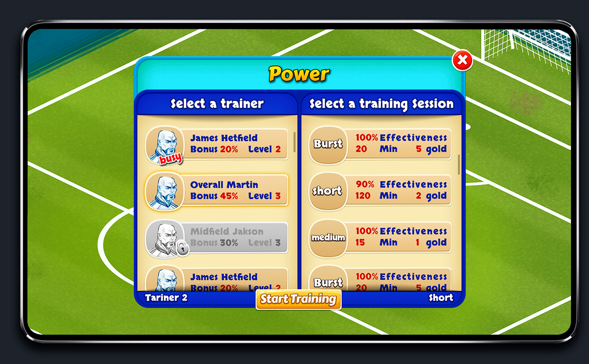 Soccer Mobile Game Blue UI Design - Trainer Upgrade