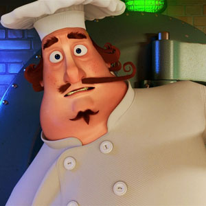 Chef with long mustache 3D character design for a funny 3D animation commercial