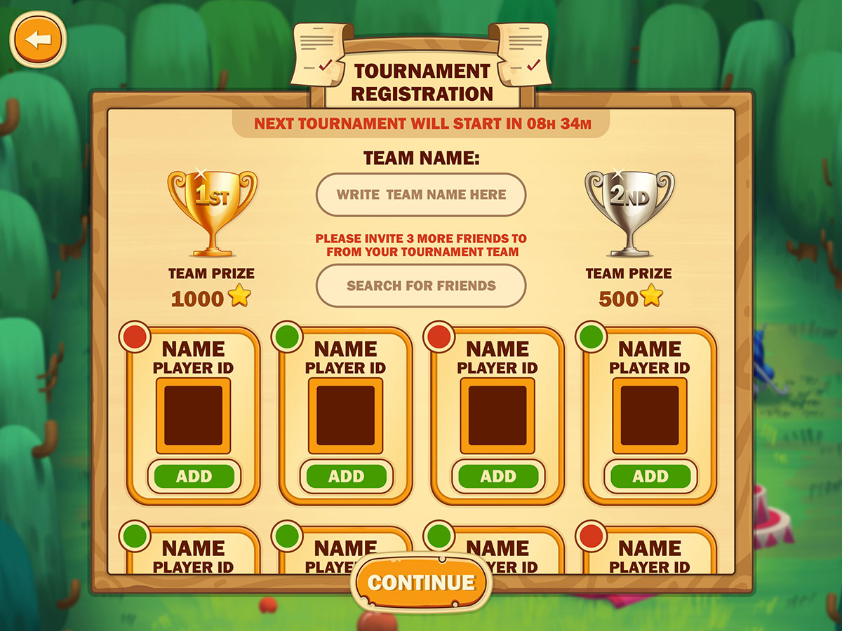 Tournament RegistrationUX UI Game