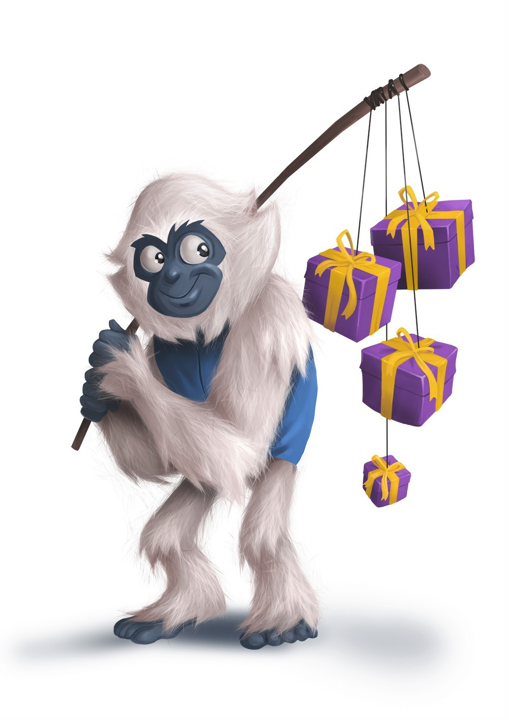 White monkey carrying gift boxes - Digital Painting