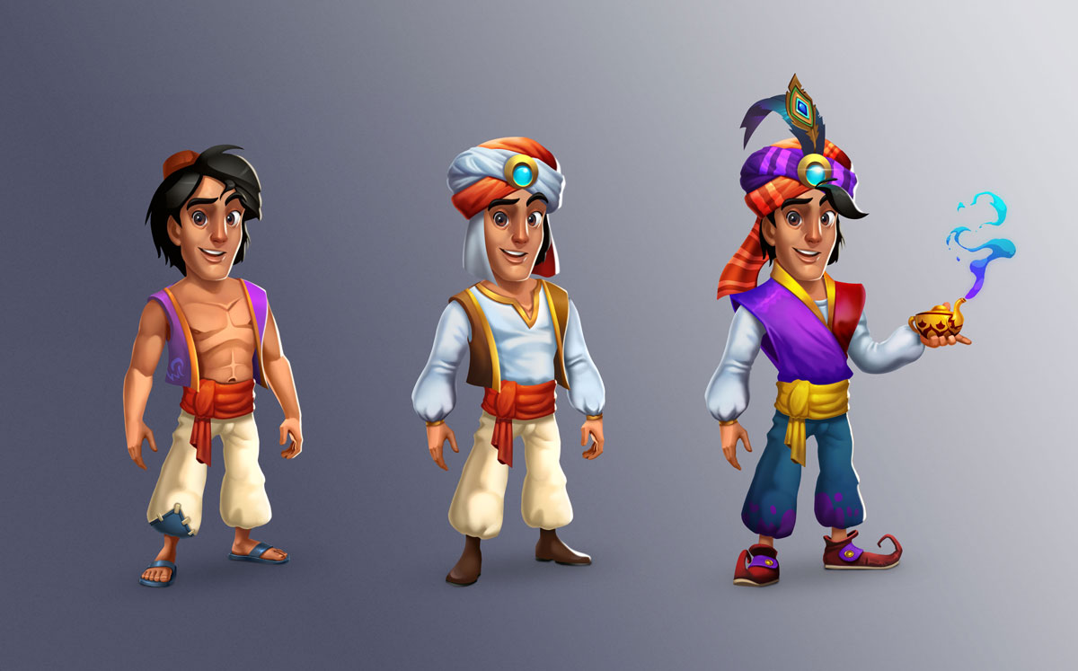 Aladdin 2D Slot Game Character Design in 3 Upgrades