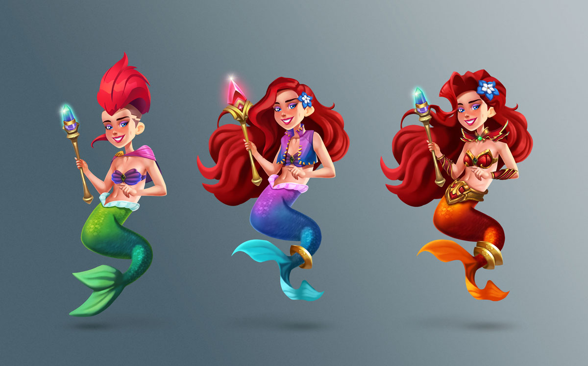 Ariel 2D Slot Game Character Design in 3 Upgrades