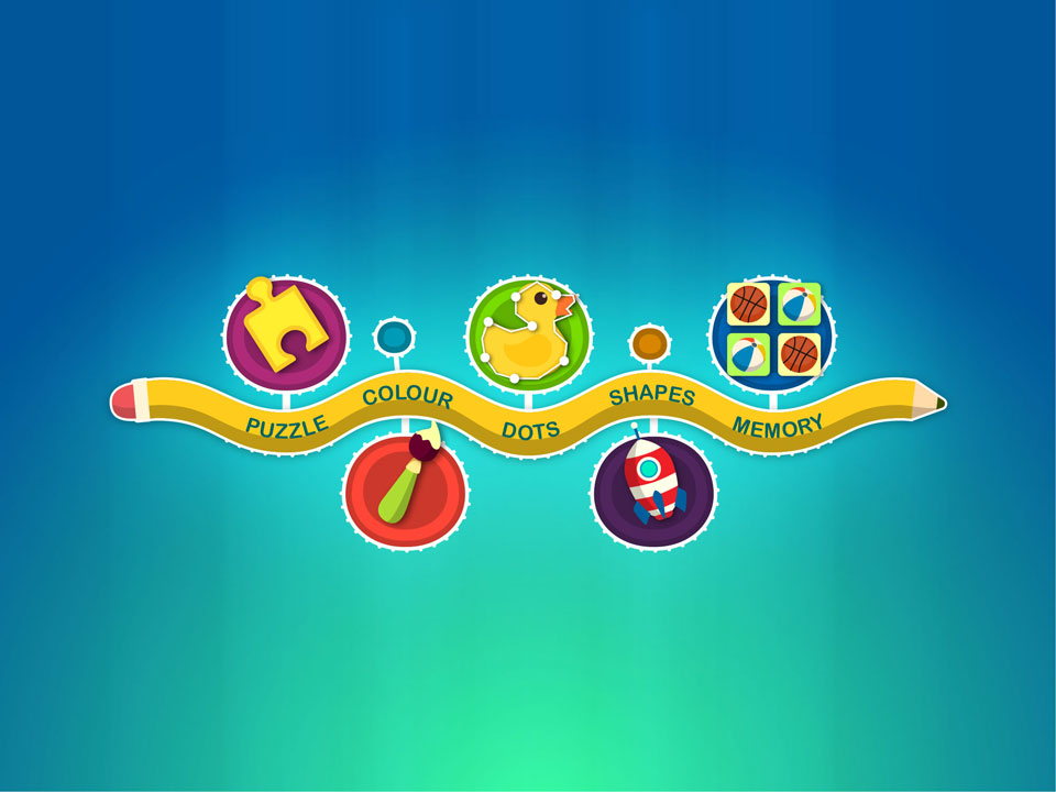 Children's Educational Mobile Game Vector Flat Cartoon UI Design - Activities Menu