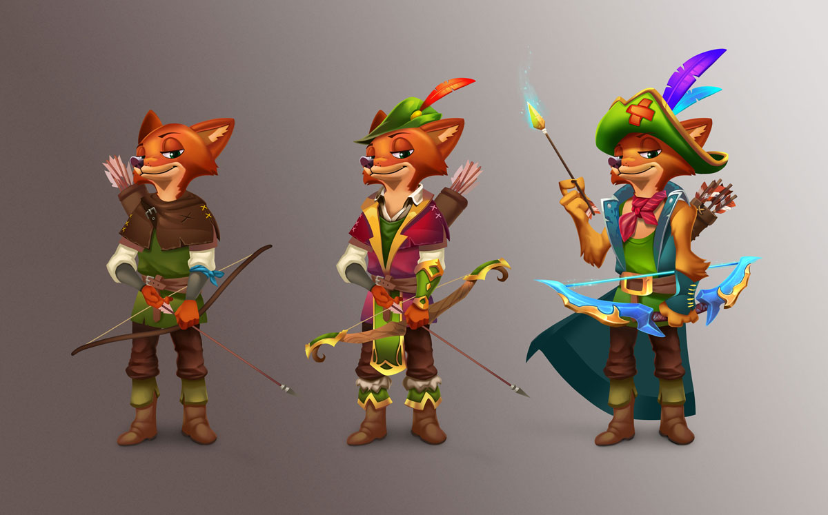 Robin Hood 2D Slot Game Character Design in 3 Upgrades