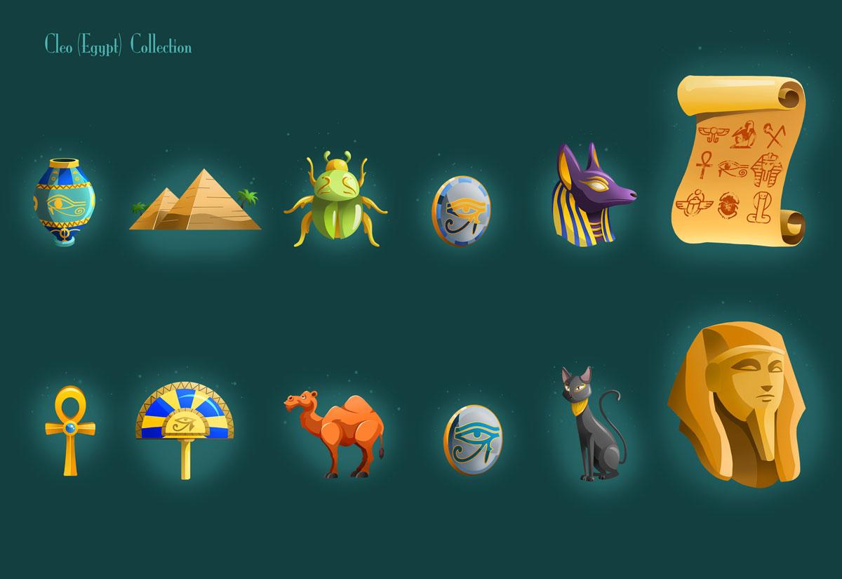 Slot Game Egypt Cleo Icon Designs