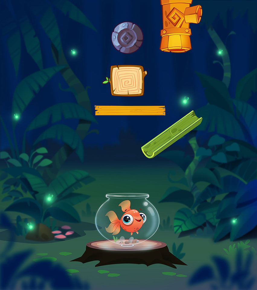 Fish in the forest at night - Water Puzzle Mobile Game Background Design