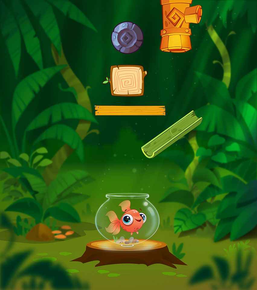Fish in the forest - Water Puzzle Mobile Game Background Design