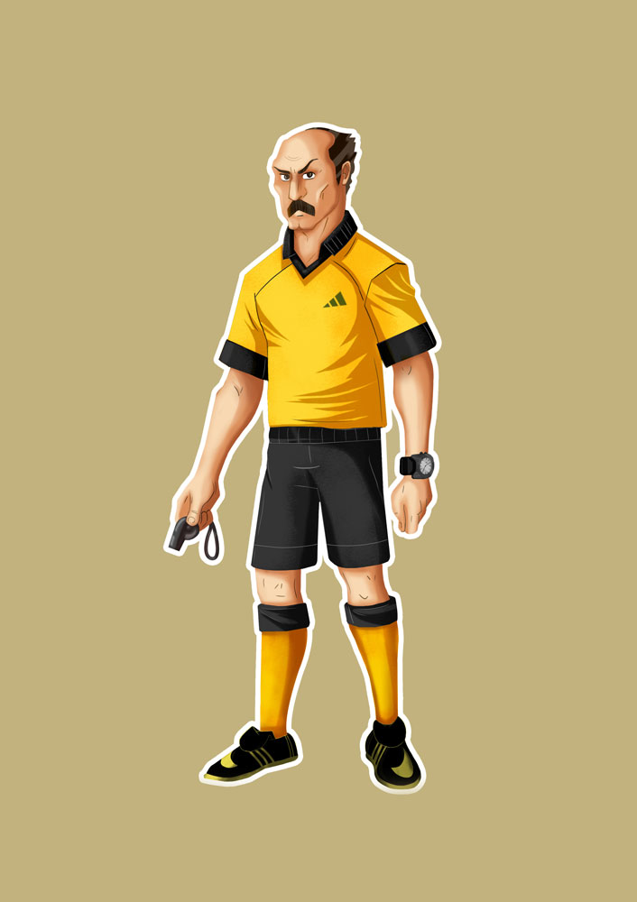 ‌Bald Referee With Yellow Shirt Game Character Design