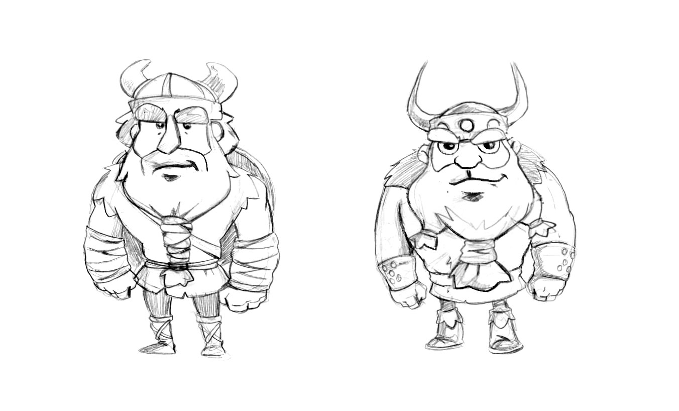 Cartoonish Viking Game Character Drawing Sketches
