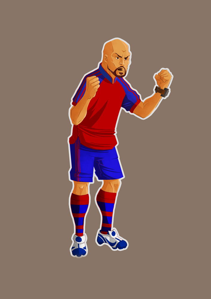 Bald Soccer Player With Red And Blue Clothes Game Character Design
