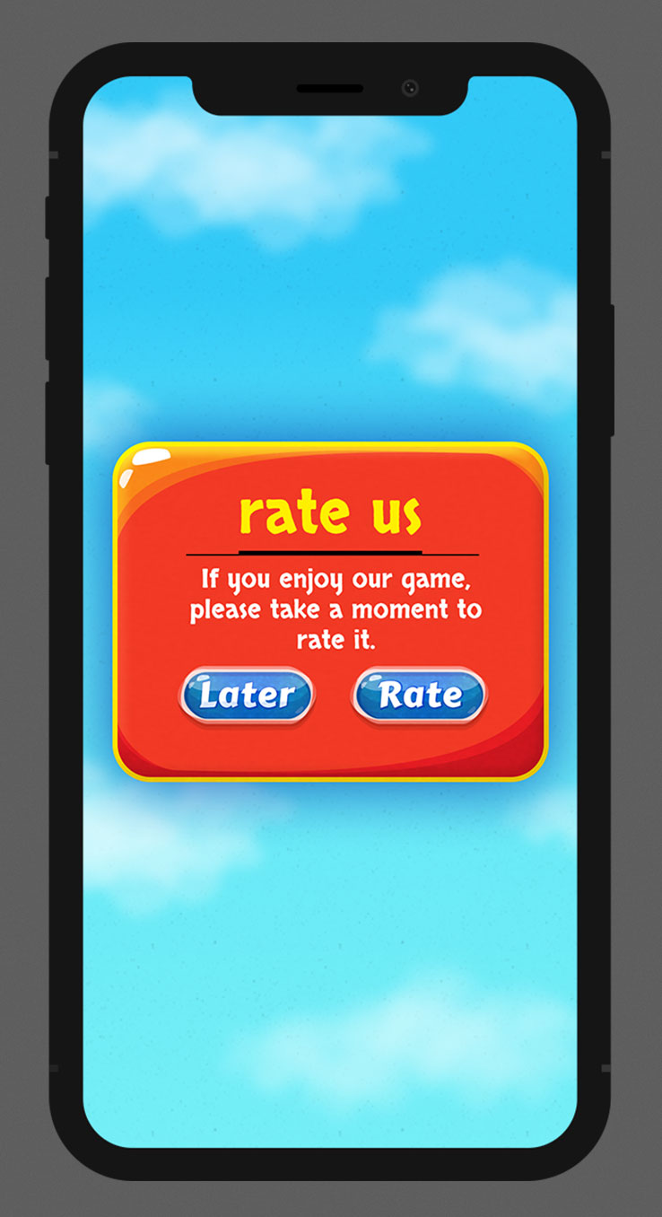 Casual Mobile Game Blue Glossy UI Design - Rate Us Popup