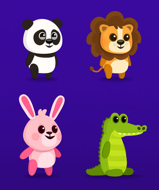 Panda, Lion, Rabbit, Alligator - children's educational game vector character design