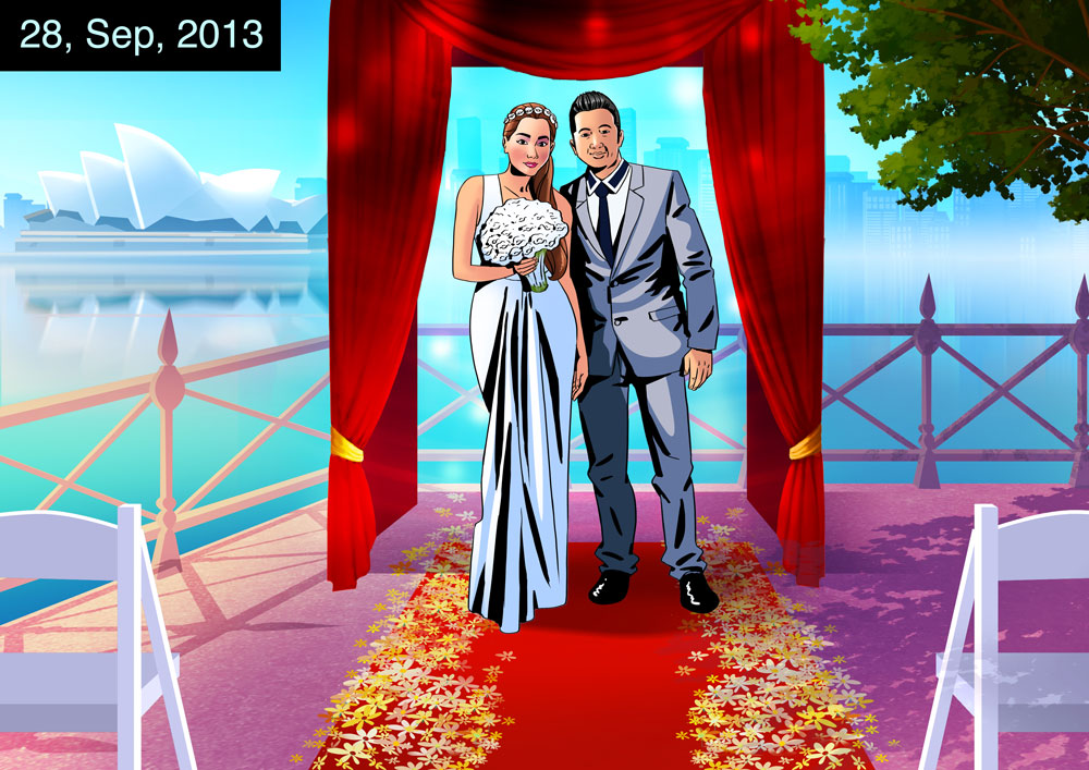 Wedding day, groom in gray suit and bride in white wedding dress holding white flowers - 2D illustration