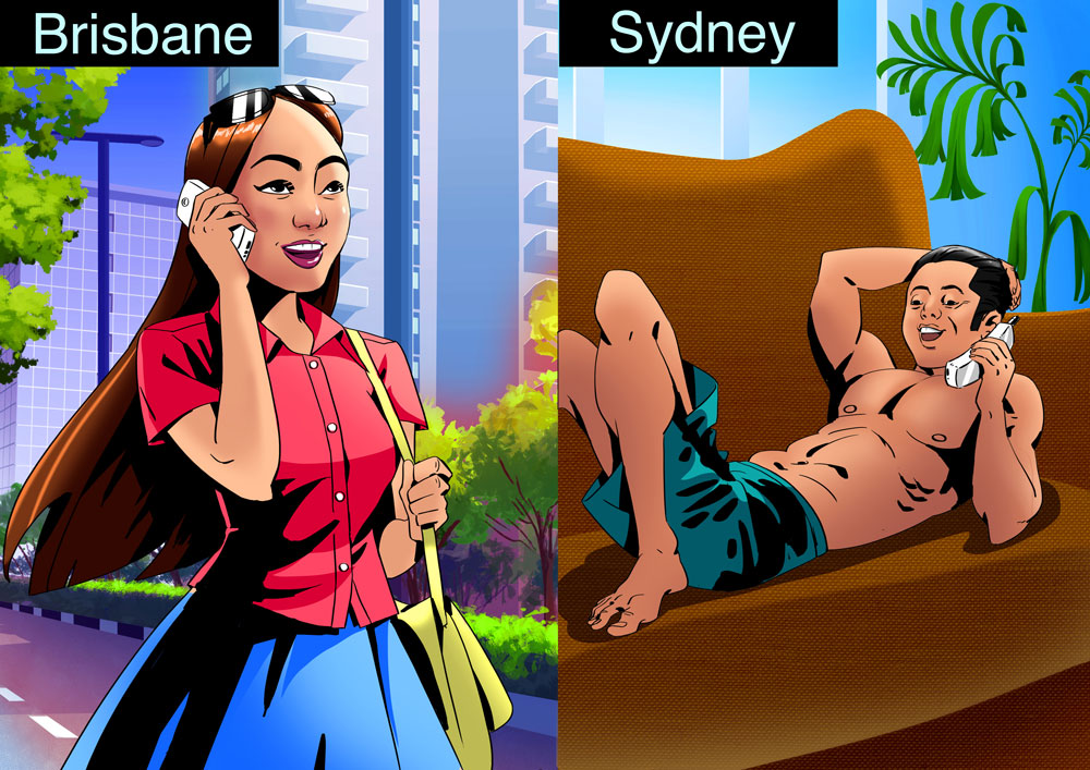 Naked guy talking with his girlfriend over phone - 2D illustration