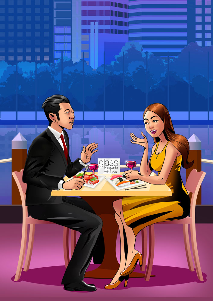 Guy in suit dinner date with his girlfriend in yellow dress - 2D illustration