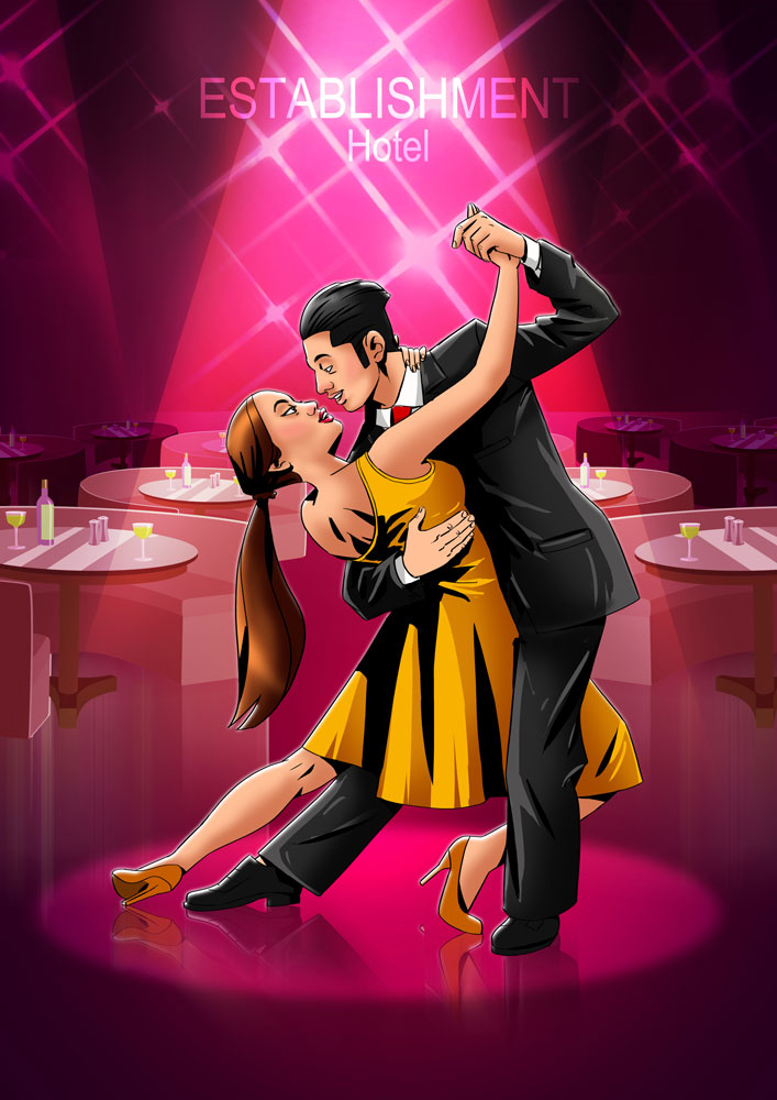 Guy in suit dancing with his girlfriend in yellow dress 2D illustration