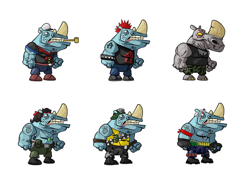Cartoon rhino in different costumes mobile game character design