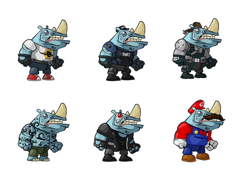 Cartoon rhino in different costumes (super mario, SWAT, commando) mobile game character design