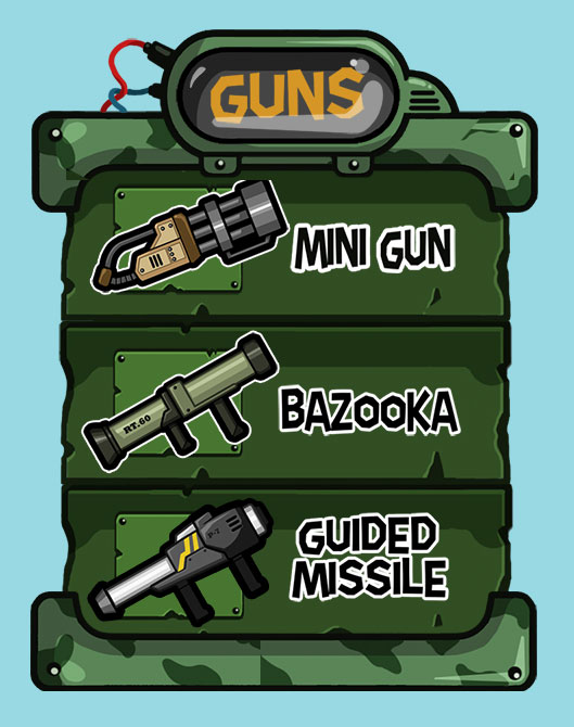 Mobile game green vector UI design - Guns menu