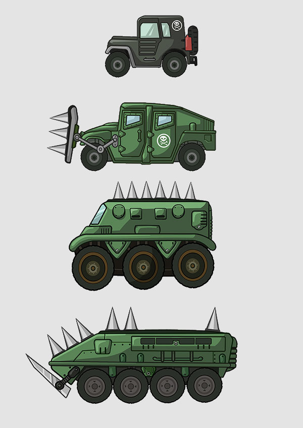 2D Action Mobile Game Military Vehicle Design