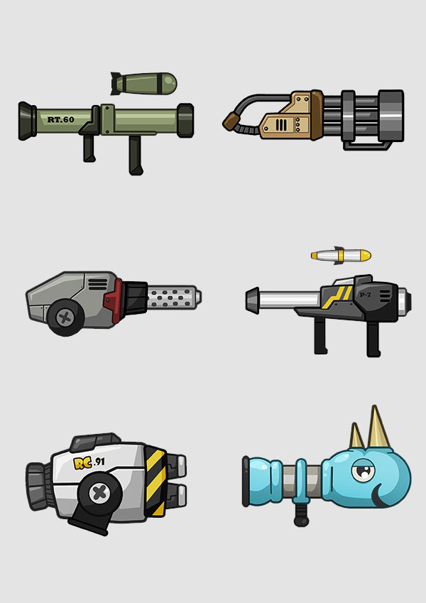 Mobile Action Game 2D Weapon Design