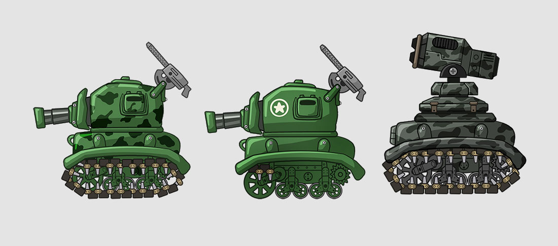 Mobile Action Game 2D Tank Design