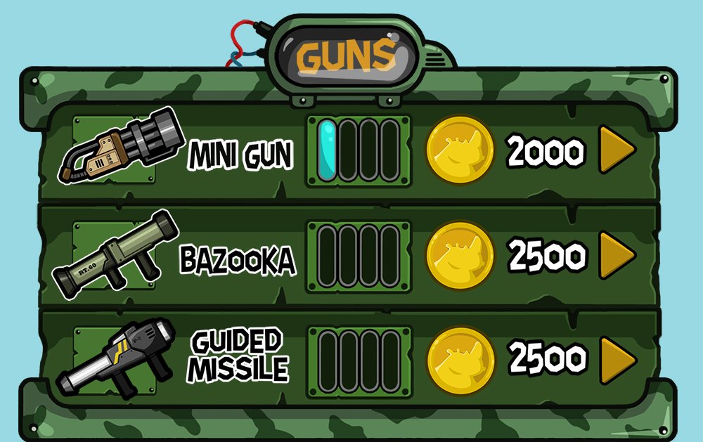 Mobile game green vector UI design - Upgrade guns menu