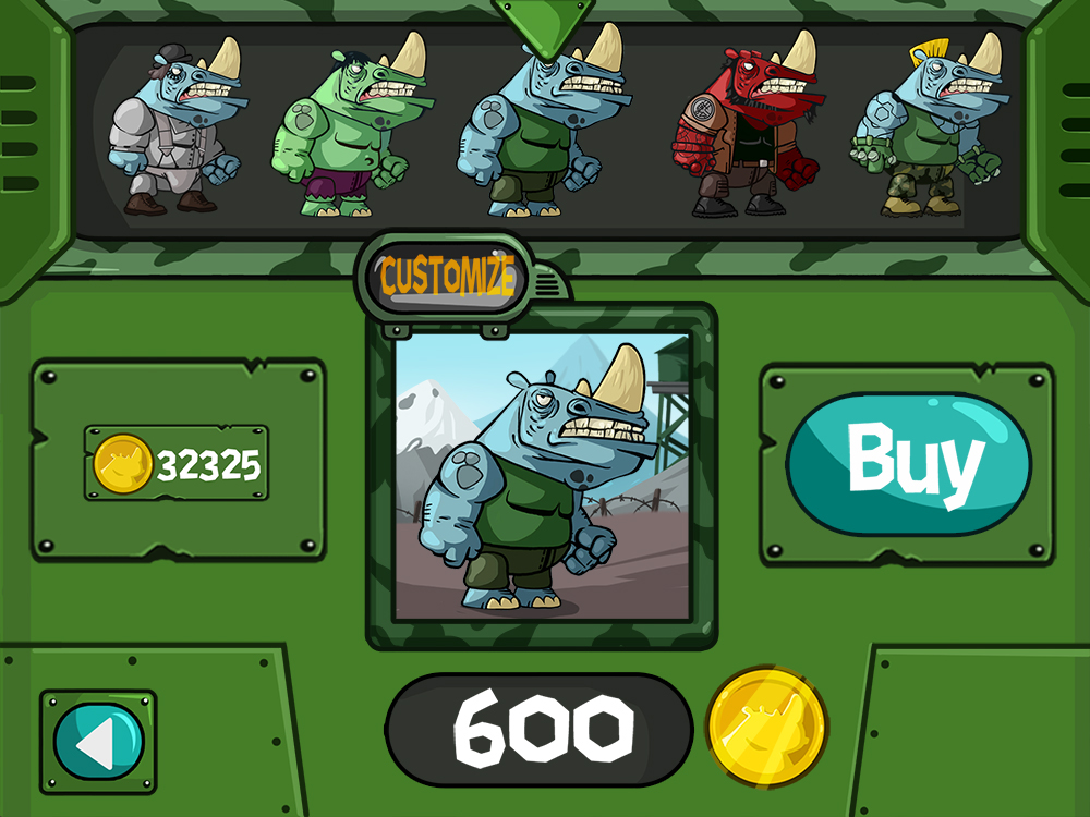 Mobile game green vector UI design - Characters menu