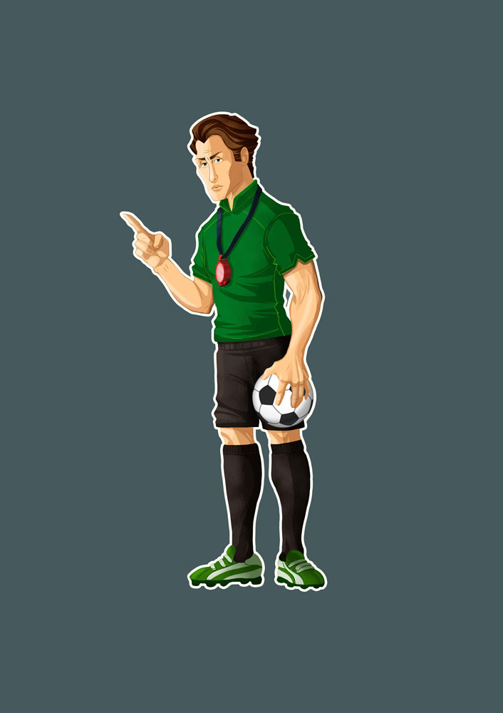 Soccer Coach With Green Shirt Game Character Design