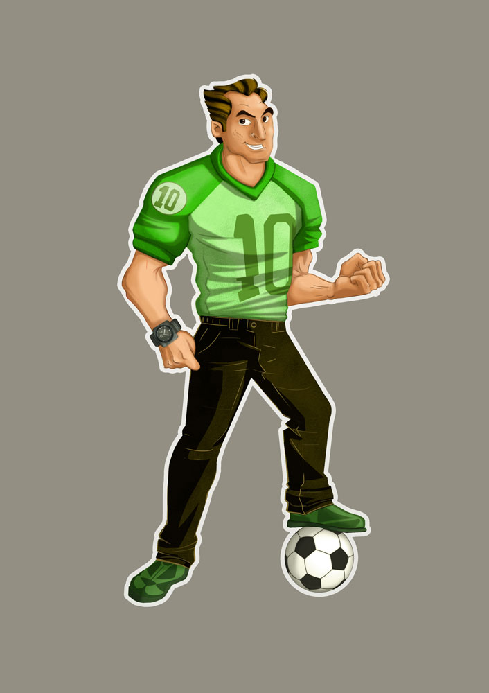 Soccer Player With Green Clothes Game Character Design