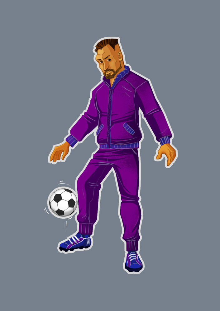 Soccer Player With Purple Clothes Game Character Design