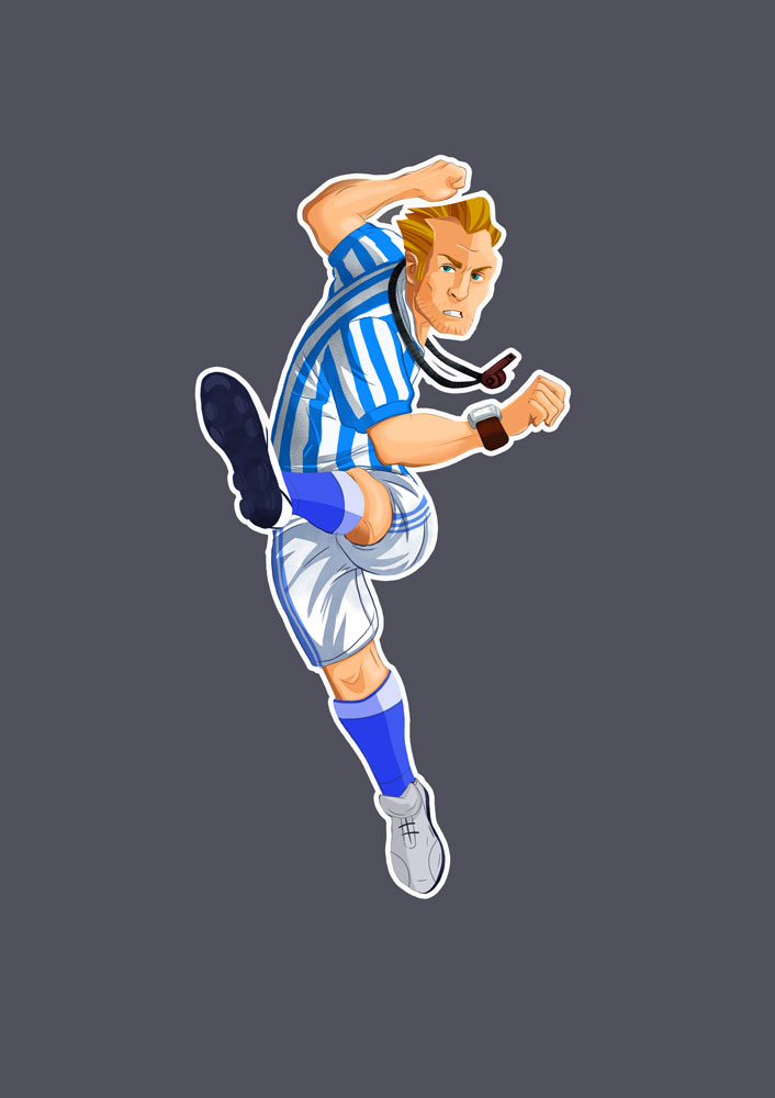 Soccer Player With White Blue Clothes Shooting Game Character Design