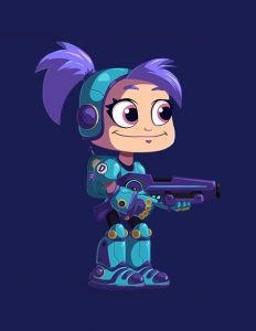 Armored girl holding gun - 2D game character design