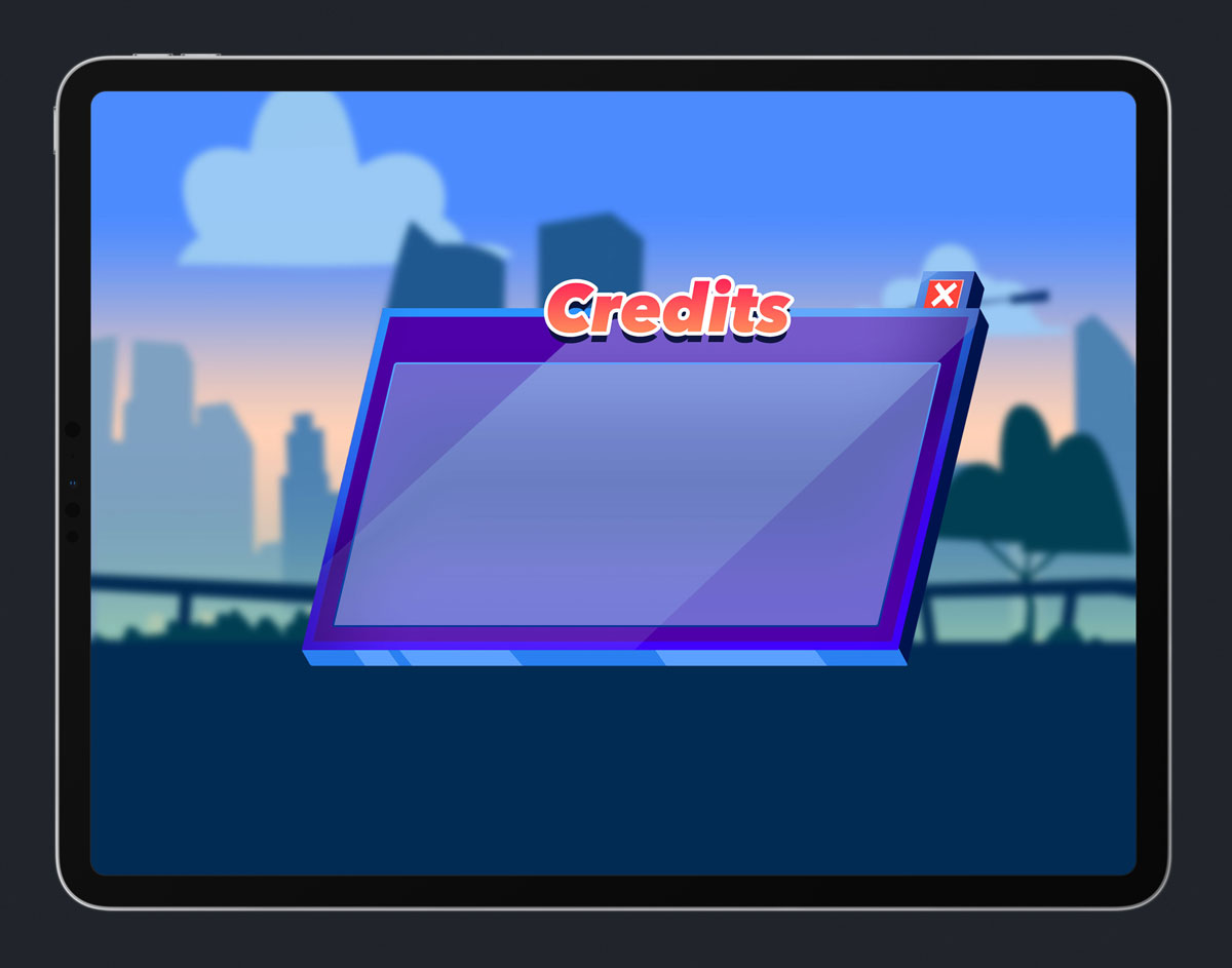 Mobile Game Skewed UI Design - Credits