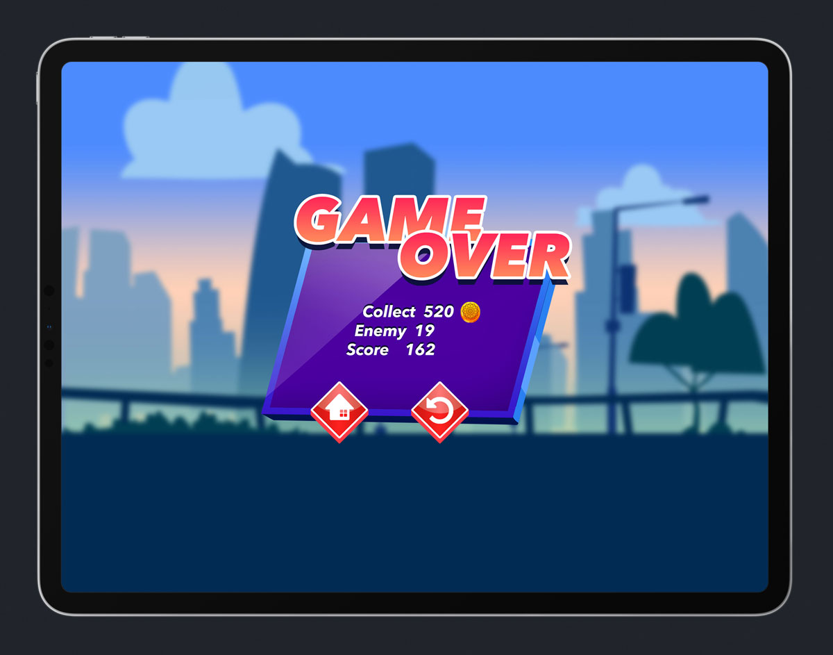 Mobile Game Skewed UI Design - Game Over Menu