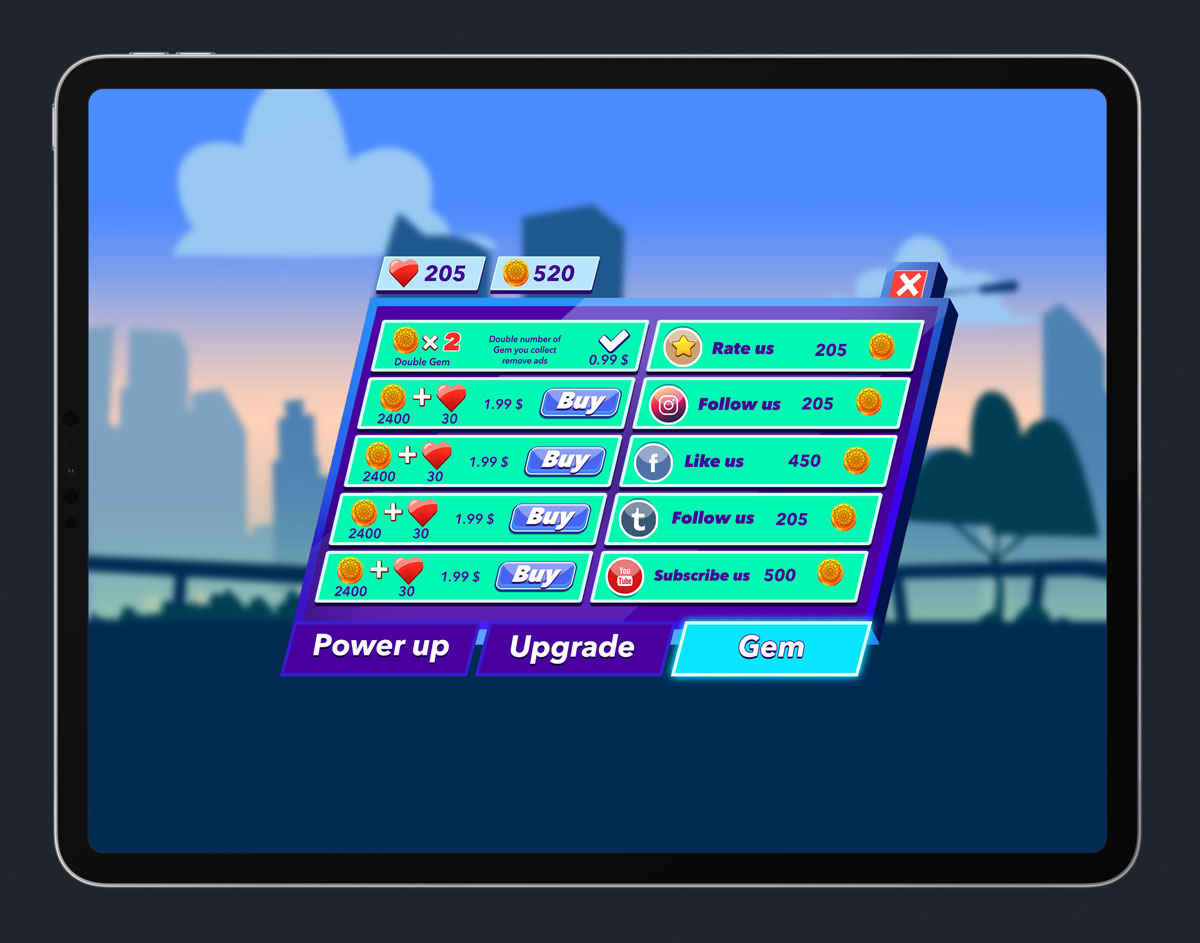 Mobile Game Skewed UI Design - Store Menu