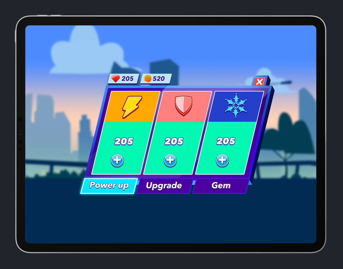 Mobile Game Skewed UI Design - Power Up Menu