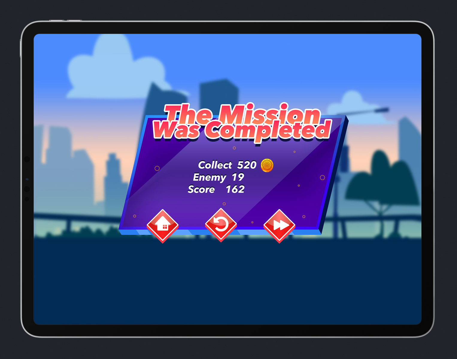 Mobile Game Skewed UI Design - Mission Complete Menu