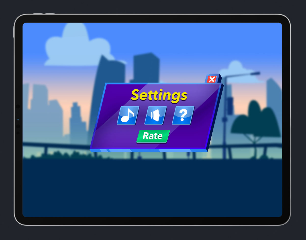 Mobile Game Skewed UI Design - Settings Menu