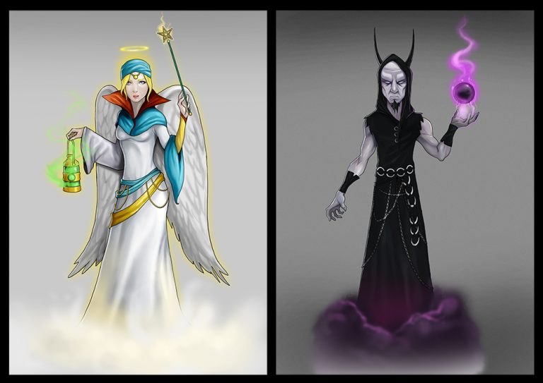 Mythical good and evil angels - Fighting 2D Mobile Game Character Design