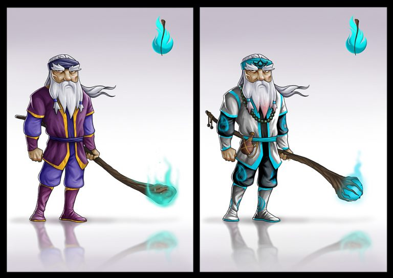 Mythical old male warrior holding a magic big stick - Fighting 2D Mobile Game Character Design
