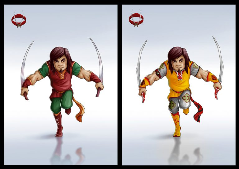Mythical male warrior holding 2 swords - Fighting 2D Mobile Game Character Design