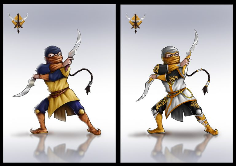 Mythical female warrior holding 2 long daggers - Fighting 2D Mobile Game Character Design