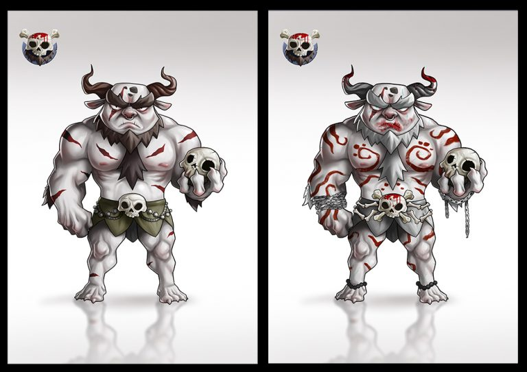 Mythical monster warrior holding a skull - Fighting 2D Mobile Game Character Design
