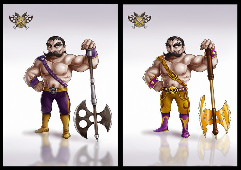 Mythical male warrior with long mustache holding an axe - Fighting 2D Mobile Game Character Design