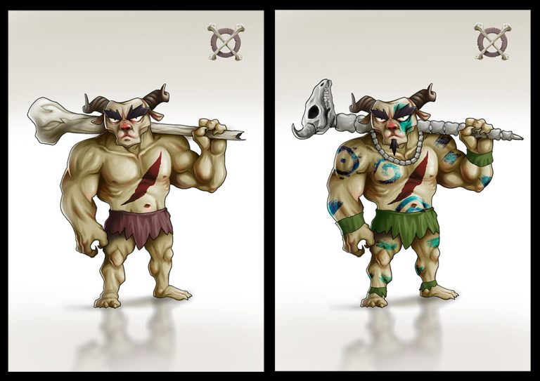 Mythical monster warrior holding a big skeleton hammer - Fighting 2D Mobile Game Character Design