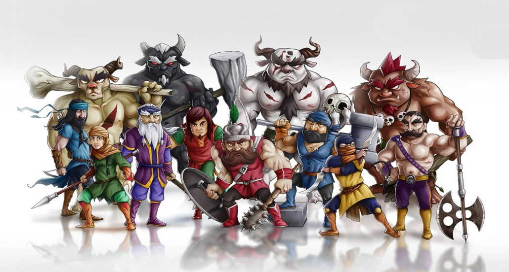 Mythical warriors - Fighting 2D Mobile Game Character Design