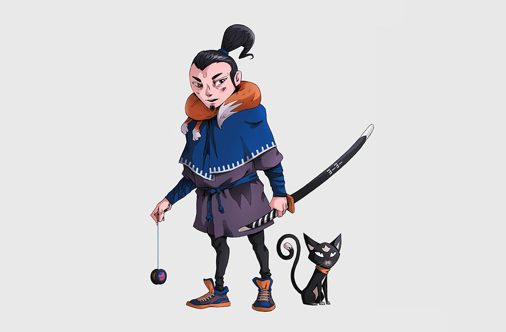 Samurai holding a sword with his cat - 2D illustration