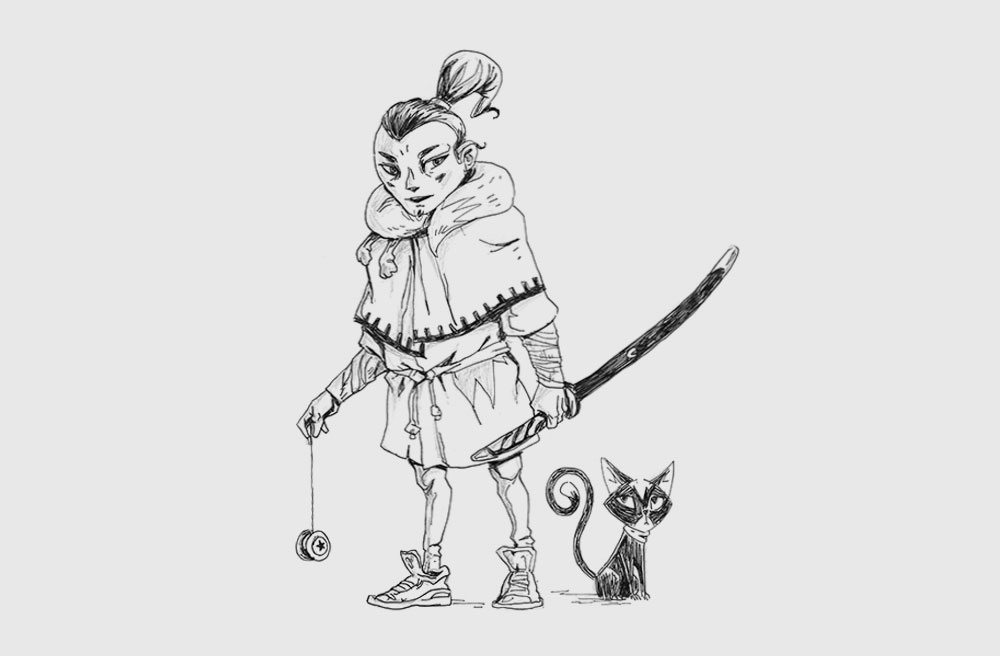 Samurai holding a sword with his cat - Drawing sketch