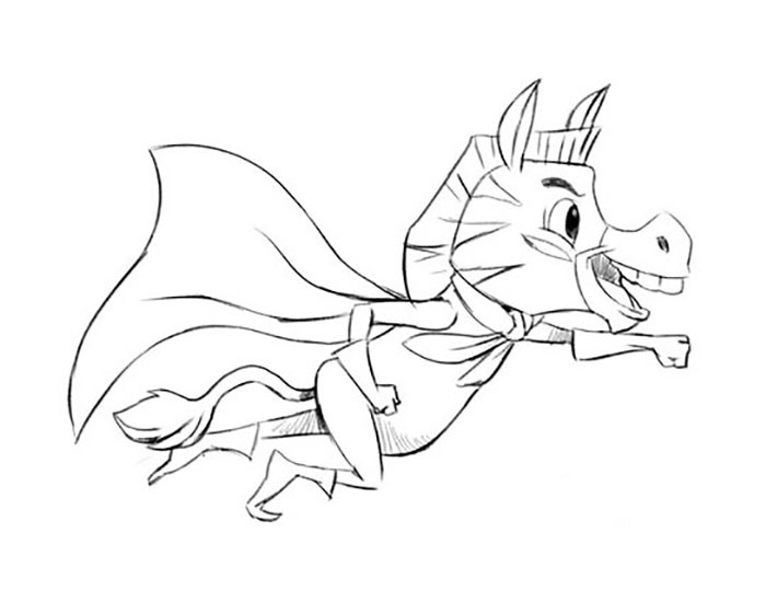 Flying zebra hero with a cape drawing sketch